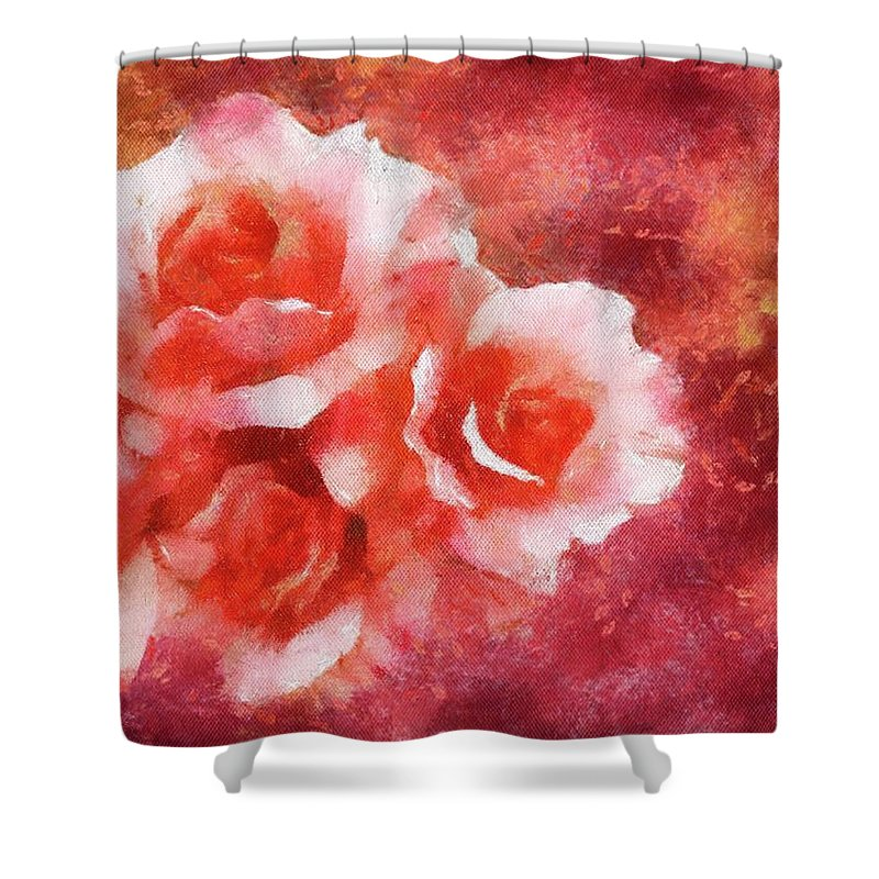 Flowers Shower Curtain featuring the painting Shades Of Red by Jamie Holbrook