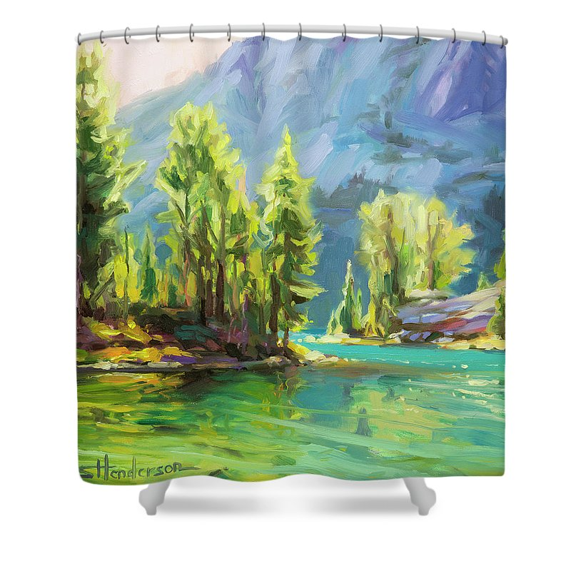 Lake Shower Curtain featuring the painting Shades Of Turquoise by Steve Henderson