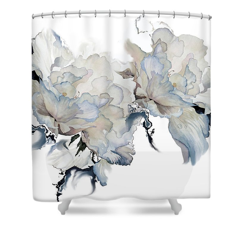 Shades Of White Peony Shower Curtain featuring the painting Shades Of White Peony by Hanne Lore Koehler