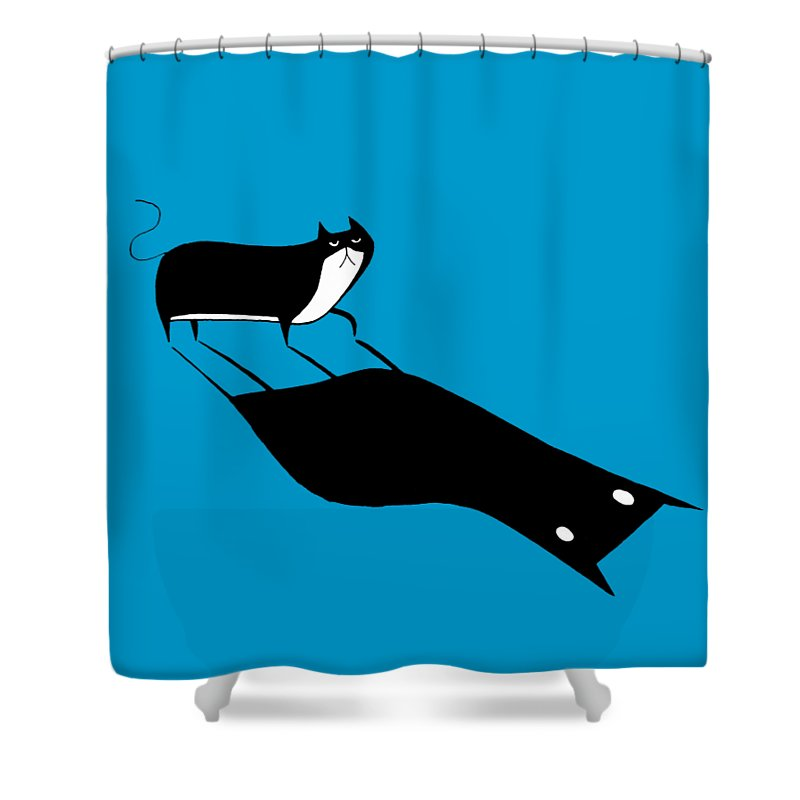 Cat Shower Curtain featuring the drawing Shadow by Andrew Hitchen