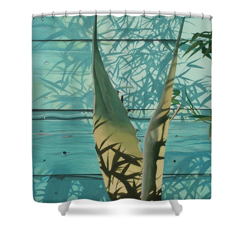 Hyperrealism Shower Curtain featuring the painting Shadowed Agave by Michael Earney