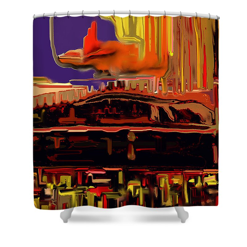 Abstract Shower Curtain featuring the digital art Shadows And Light by Ian MacDonald