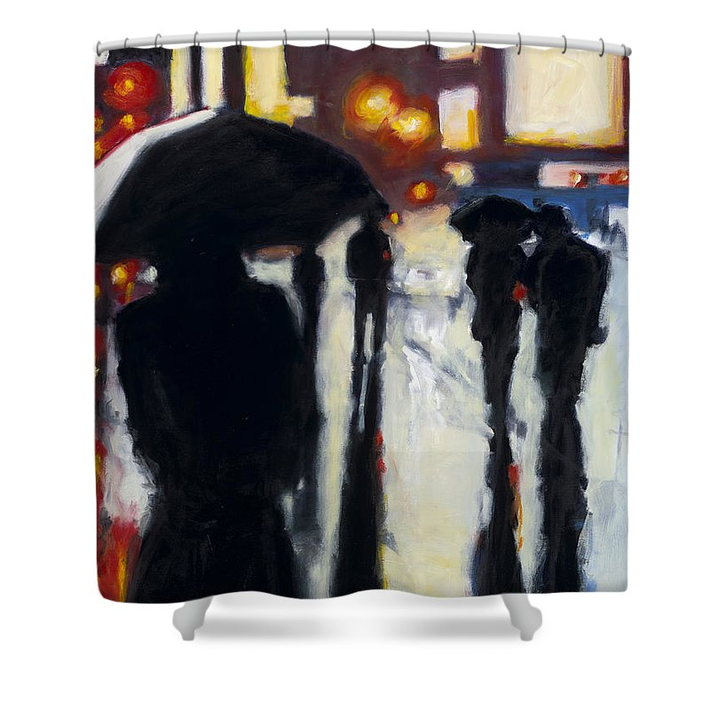 Rob Reeves Shower Curtain featuring the painting Shadows In The Rain by Robert Reeves