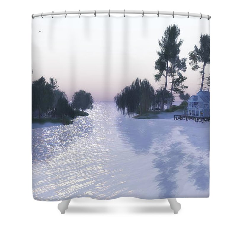 Landscapes Shower Curtain featuring the digital art Shadows by Laureano Rivera