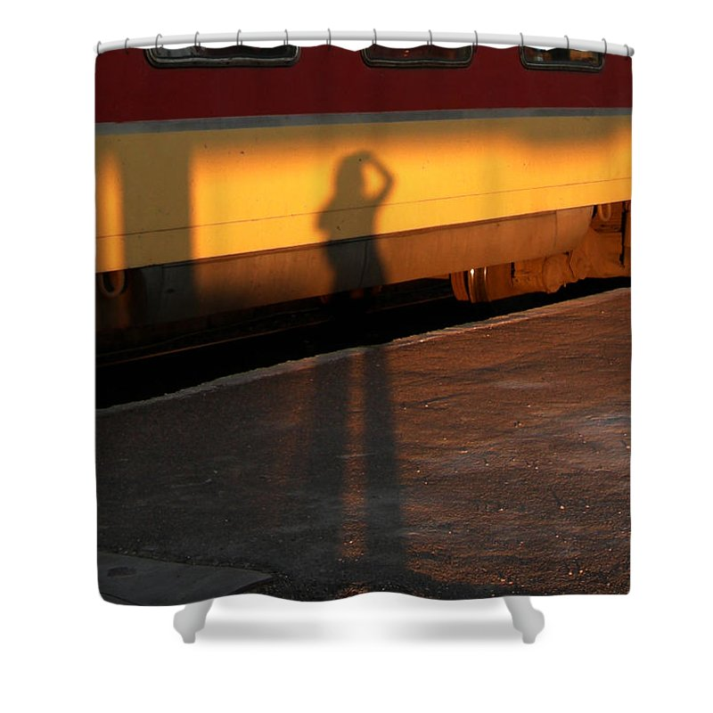 Shower Curtain featuring the photograph Shadows On The Platform 2 by Fay Lawrence