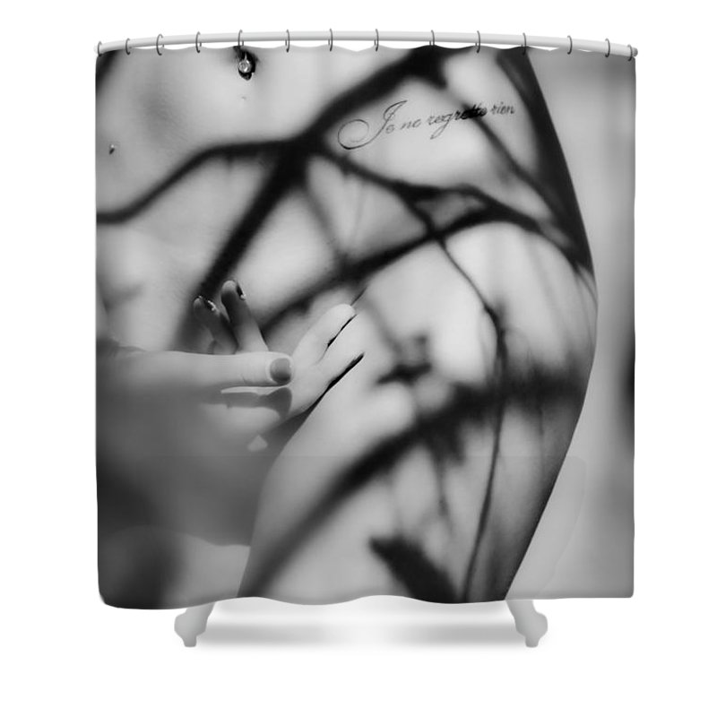 Nude Shower Curtain featuring the photograph Shadows Play On Woman Body by Vitaly Vachrushev