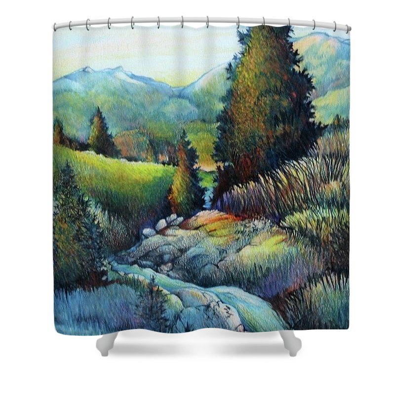 Trees Rocks Landscape Mountains Blue Green Sunshine Outdoors Meadow Quiet Peaceful Shower Curtain featuring the drawing Shady Creek by Catherine Robertson