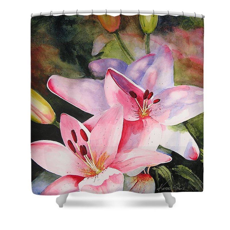 Lilies Shower Curtain featuring the painting Shady Ladies by Karen Stark