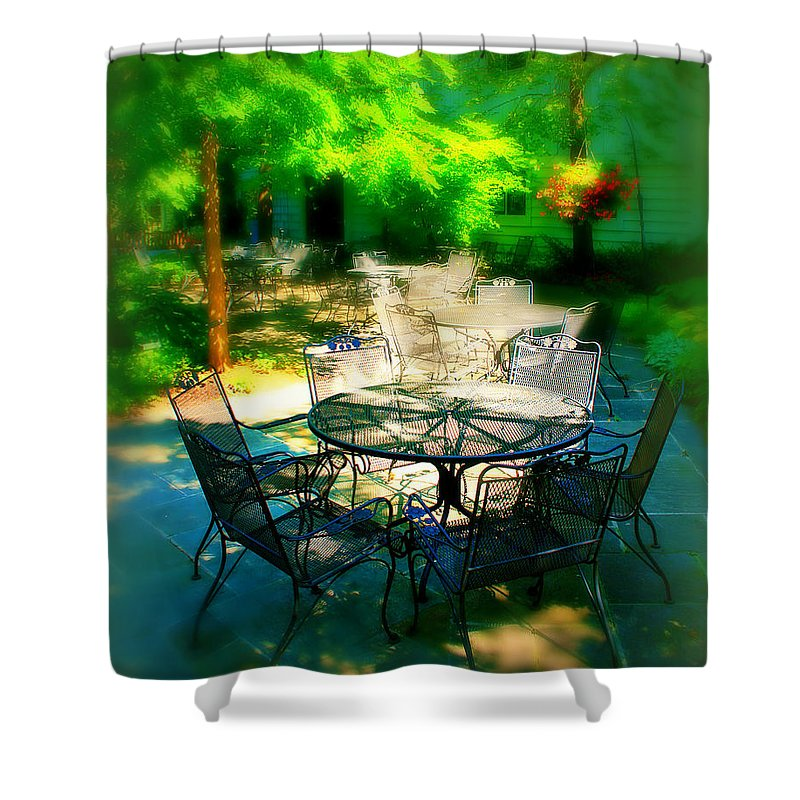 Table Shower Curtain featuring the photograph Shady Table by Perry Webster