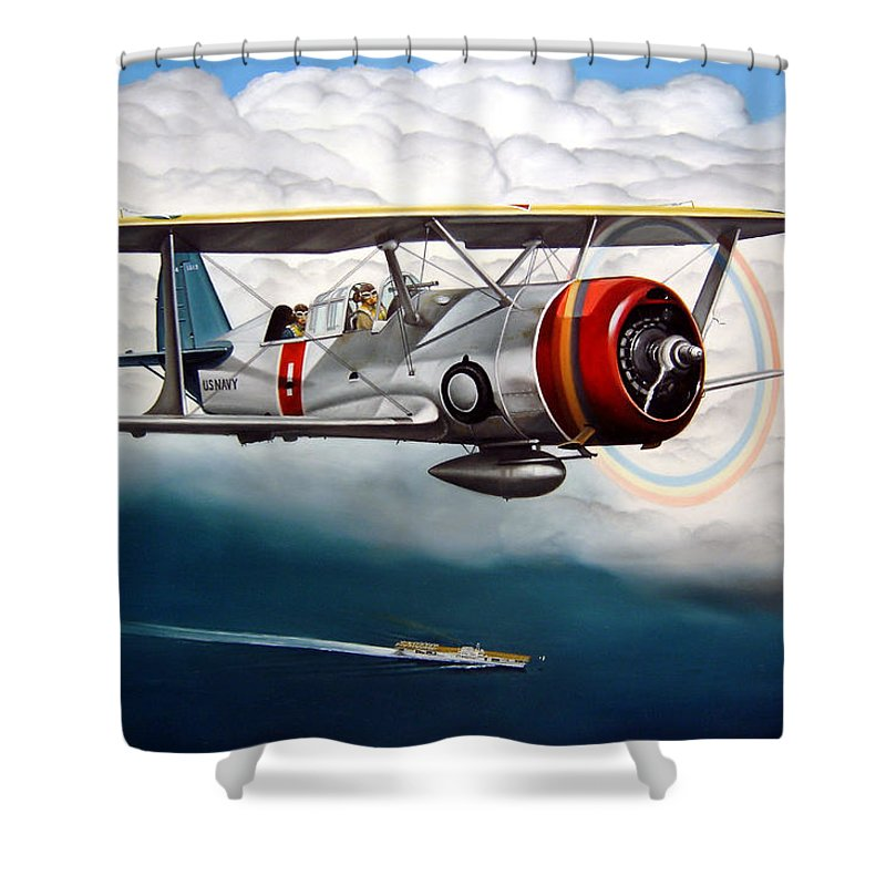 Aviation Shower Curtain featuring the painting Shakedown Cruise by Marc Stewart
