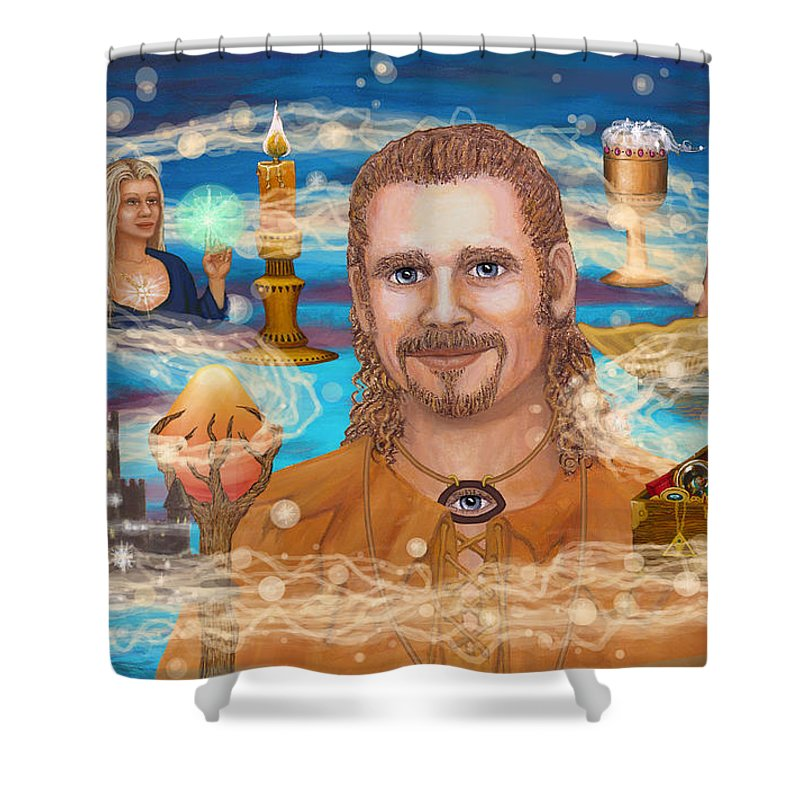 Magic Shower Curtain featuring the digital art Shaman Storey by Roz Eve