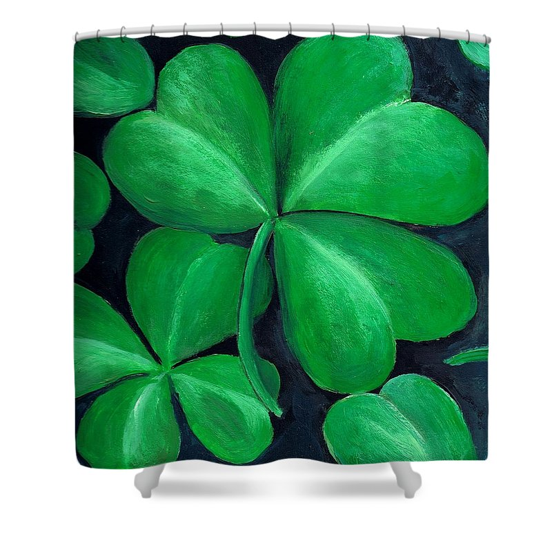 Shamrock Shower Curtain featuring the painting Shamrocks by Nancy Mueller