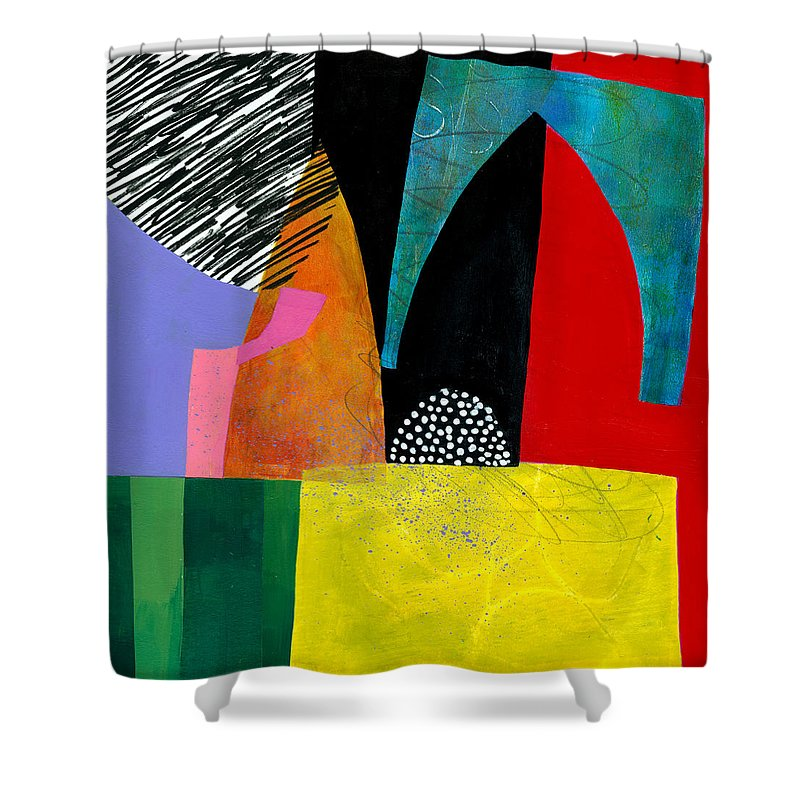 Jane Davies Shower Curtain featuring the painting Shapes 5 by Jane Davies