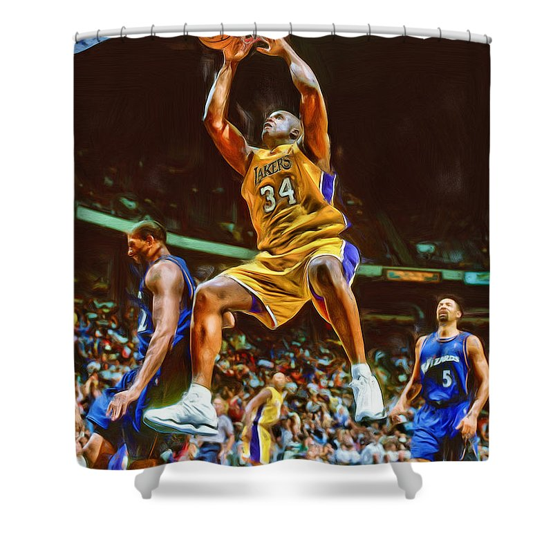 Shaquille O\'neal Los Angeles Lakers Oil Art Shower Curtain for Sale ...