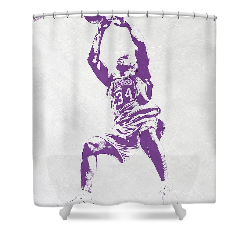 Shaquille O'neal Shower Curtain featuring the mixed media Shaquille O'neal Los Angeles Lakers Pixel Art by Joe Hamilton
