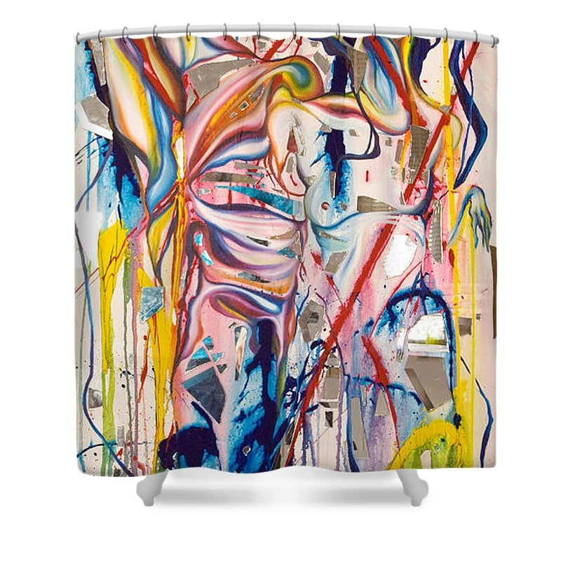 Abstract Shower Curtain featuring the painting Shards by Sheridan Furrer
