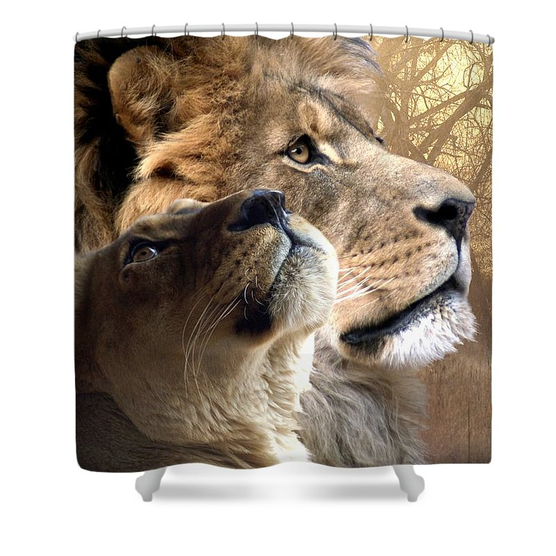 Lions Shower Curtain featuring the digital art Sharing The Vision by Bill Stephens