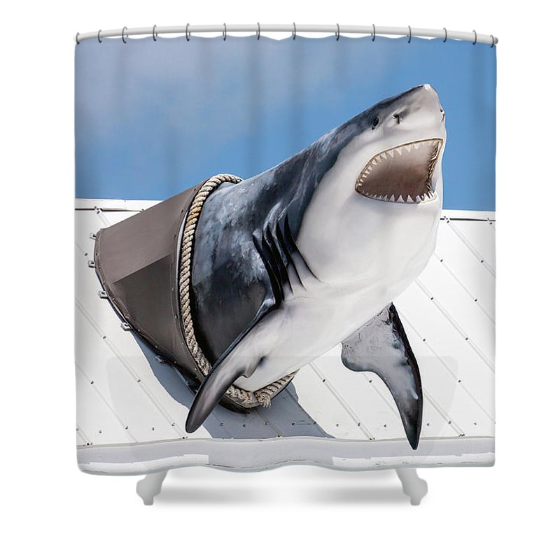 Key Largo Shower Curtain featuring the photograph Shark Attack by Art Block Collections