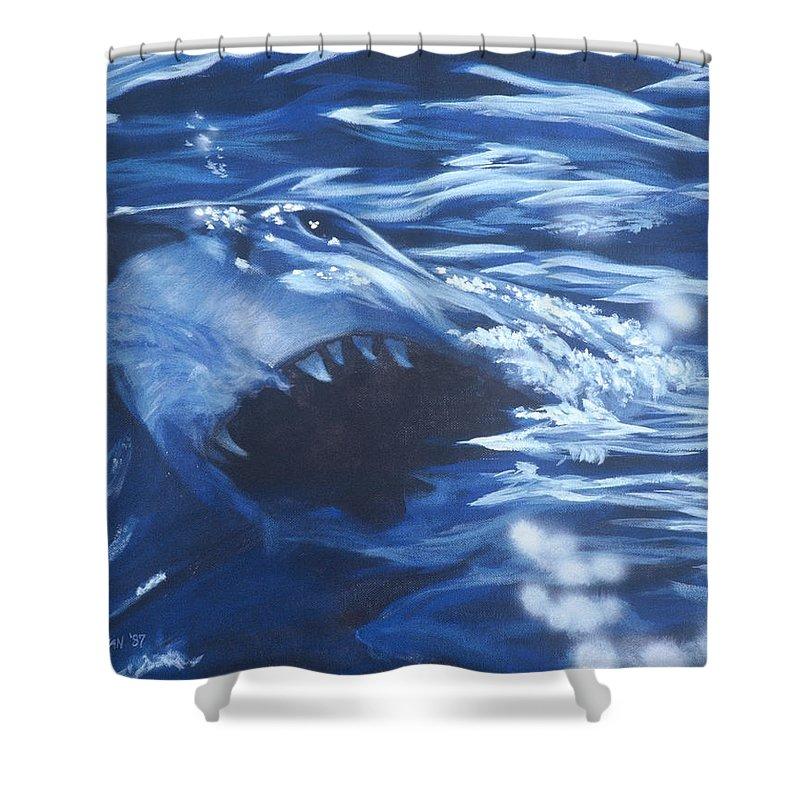 Shark Shower Curtain featuring the painting Shark by Bryan Bustard