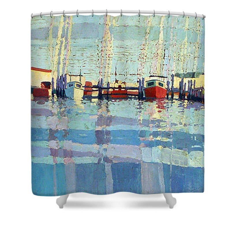 Belmar Inlet Shower Curtain featuring the painting Shark River Inlet by Donald Maier