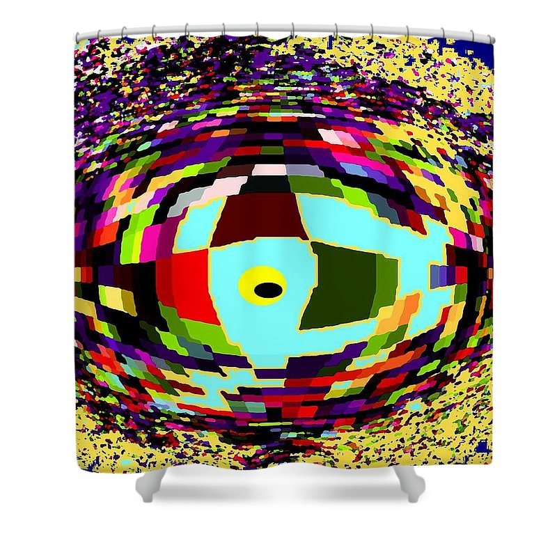 Abstract Shower Curtain featuring the digital art Shattered by Ian MacDonald