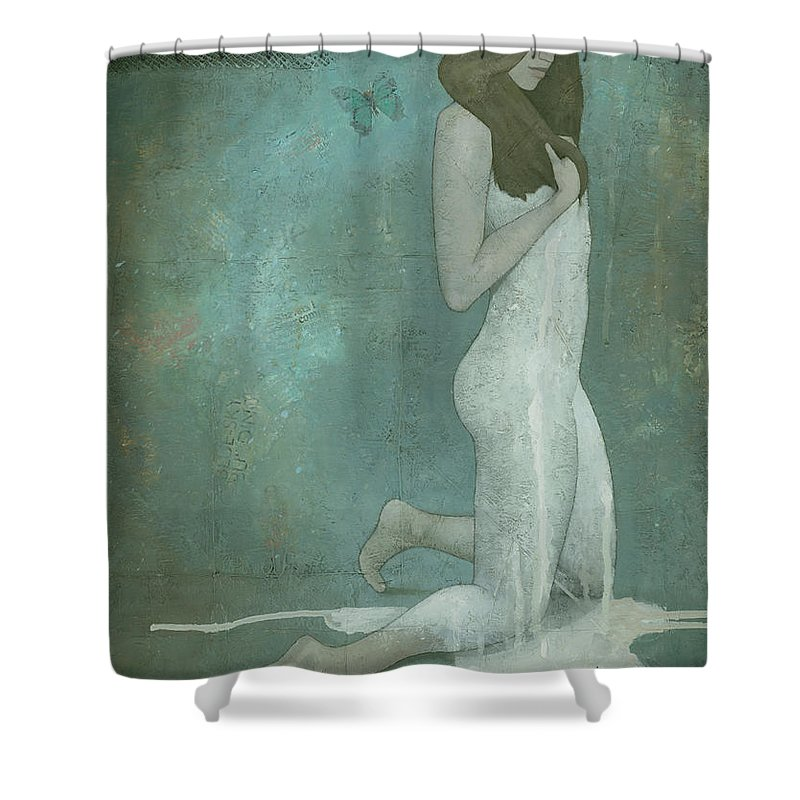 Green Shower Curtain featuring the painting Shavata by Steve Mitchell