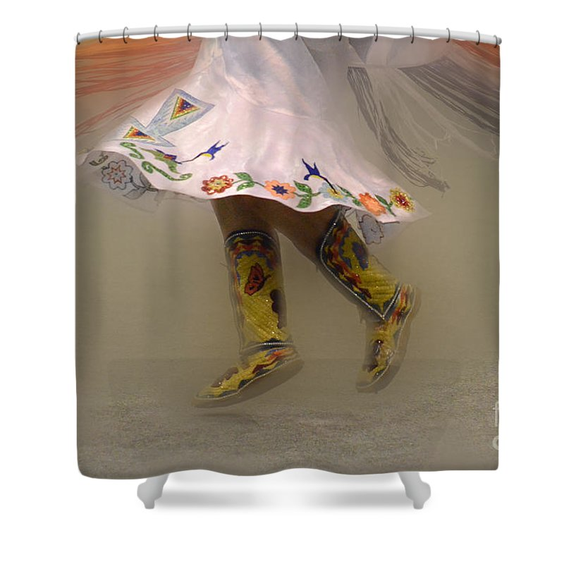 Pow Wow Shower Curtain featuring the photograph Pow Wow Shawl Dancer 8 by Bob Christopher