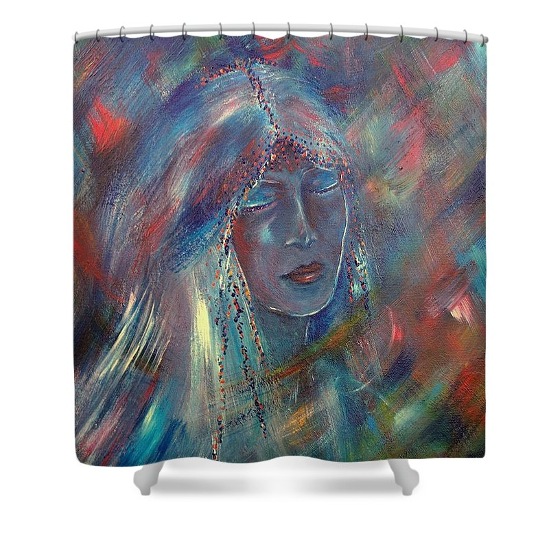 Face Shower Curtain featuring the painting She Dreams In Color by Robin Monroe