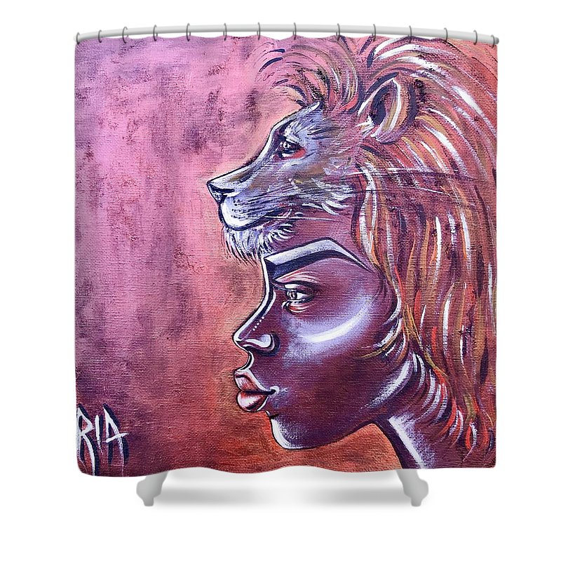 Lion Shower Curtain featuring the painting She Has Goals by Artist RiA