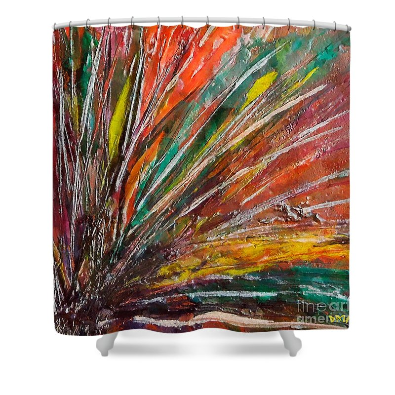 Encaustic Painting Shower Curtain featuring the painting She Is Angry by Dragica Micki Fortuna