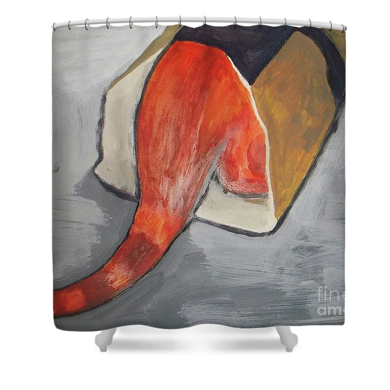 Cat Shower Curtain featuring the painting Hidden by Vesna Antic