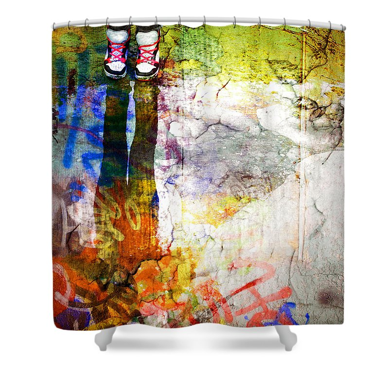 Shoes Shower Curtain featuring the photograph She Lives In A Box Of Paint by Tara Turner