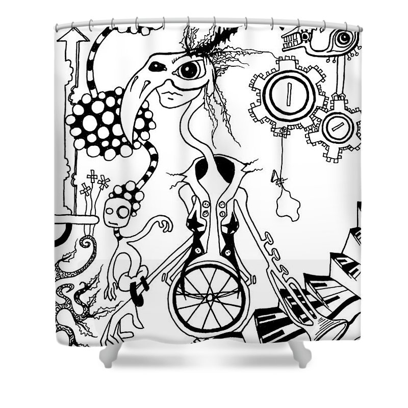 Eye Shower Curtain featuring the painting She Looked At Me Squinty With Her One Good Eye by Kelly Jade King