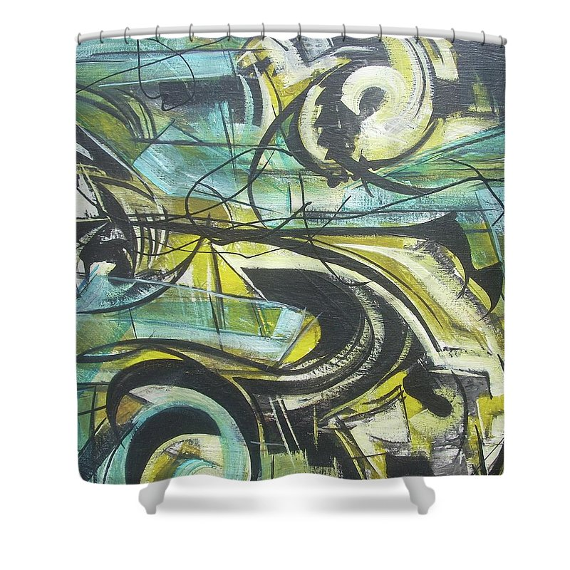 Beautiful Shower Curtain featuring the painting She Moves Me Vol1 by Hasaan Kirkland