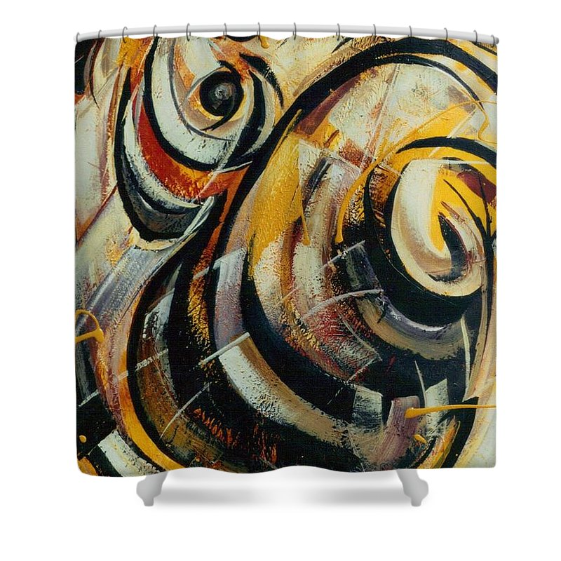 Movement Shower Curtain featuring the painting She Moves Me Vol.3 by Hasaan Kirkland