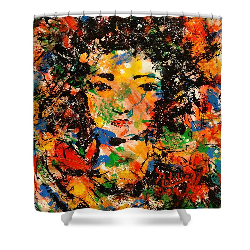 Free Expressionism Shower Curtain featuring the painting She Walks In Beauty by Natalie Holland