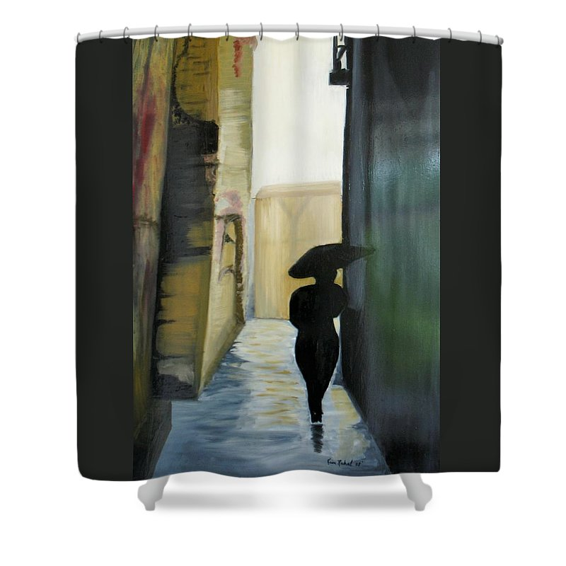 Woman Walking Shower Curtain featuring the painting She Walks by Kim Rahal