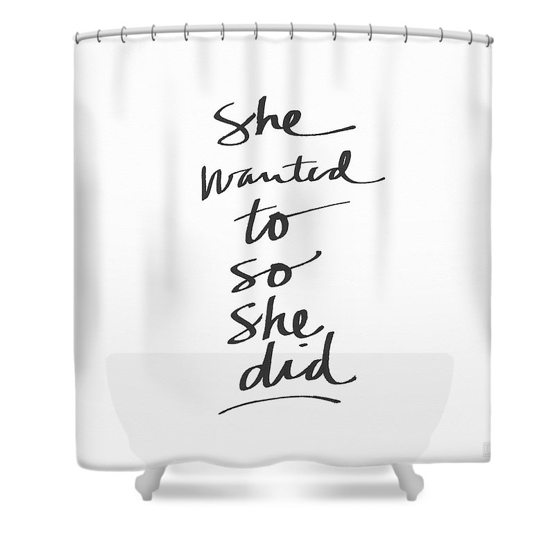 Female Athlete Shower Curtain featuring the painting She Wanted To So She Did- Art by Linda Woods by Linda Woods