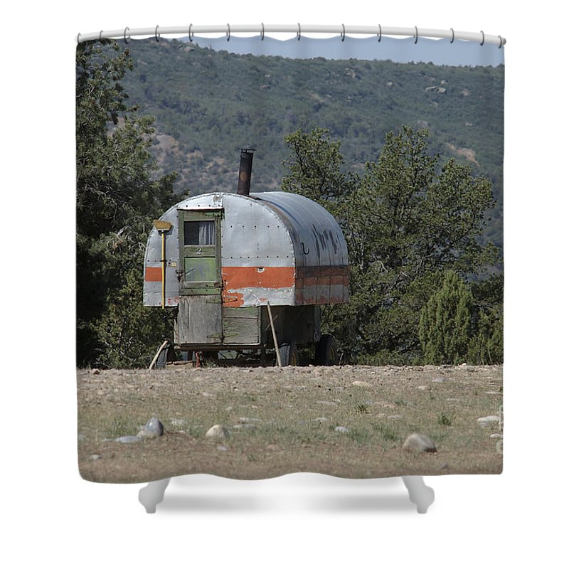 Sheep Shower Curtain featuring the photograph Sheep Herder's Wagon by Jerry McElroy