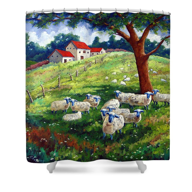 Sheep Shower Curtain featuring the painting Sheeps In A Field by Richard T Pranke