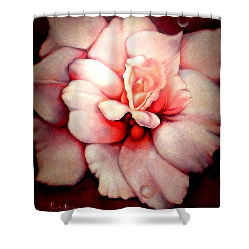 Blooms.large Rose Shower Curtain featuring the painting Sheer Bliss by Jordana Sands
