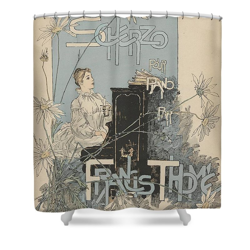 Sheet Music Scherzo Pour Piano By Francis Thom� Th�ophile Alexandre Steinlen (1859 - 1923 Shower Curtain featuring the painting Sheet Music Scherzo Pour Piano by MotionAge Designs