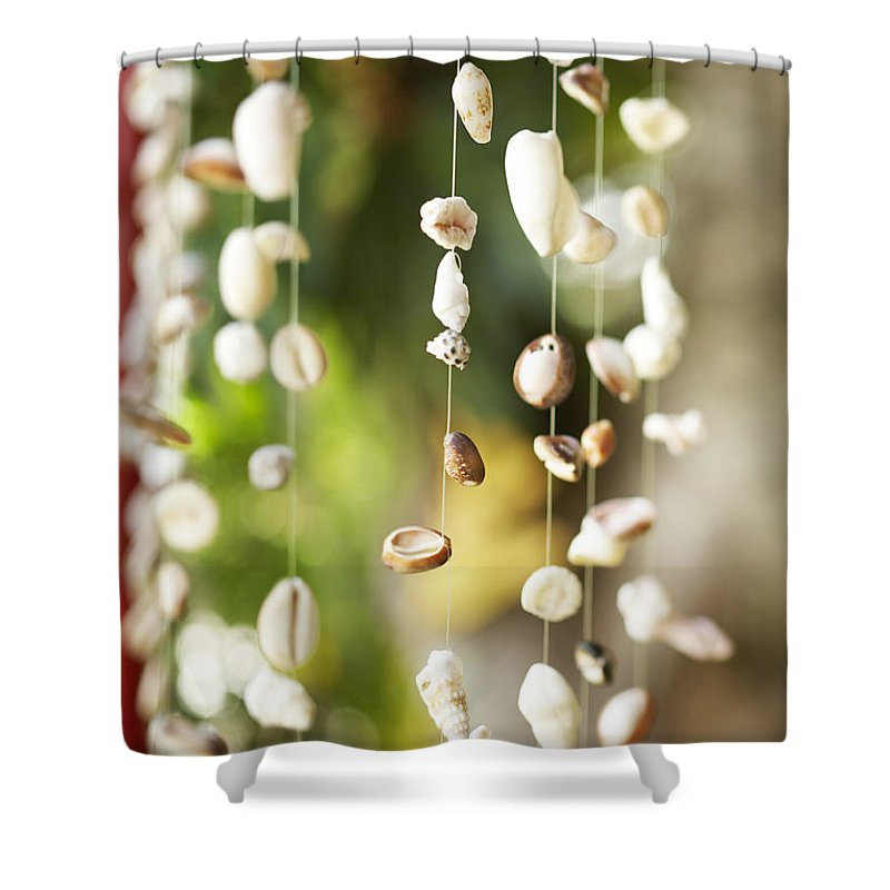 Art Shower Curtain featuring the photograph Shell Windchimes by Kyle Rothenborg - Printscapes