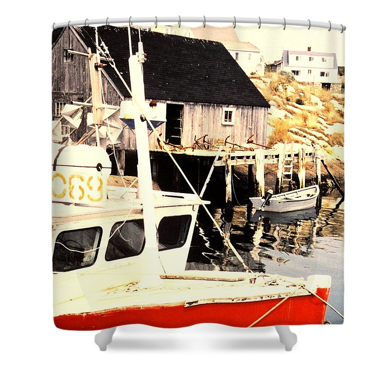 Peggys Cove Shower Curtain featuring the photograph Sheltered Port by Ian MacDonald
