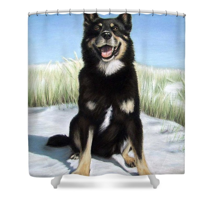 Dog Shower Curtain featuring the pastel Shepherd Mix Timmy by Nicole Zeug