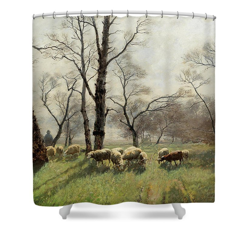 August Fink Shower Curtain featuring the painting Shepherd With His Flock In The Evening Light by August Fink