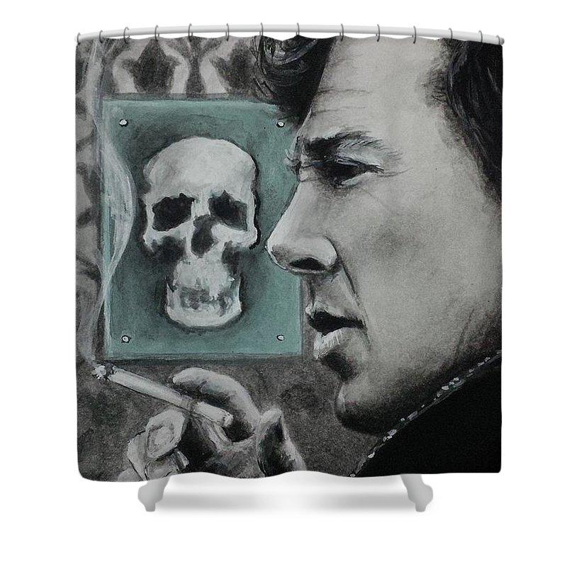 Sherlock Shower Curtain featuring the painting Sherlock by Yelena Day