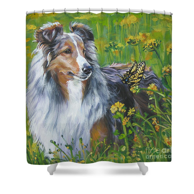 Dog Shower Curtain Featuring The Painting Shetland Sheepdog Wildflowers By Lee Ann Shepard