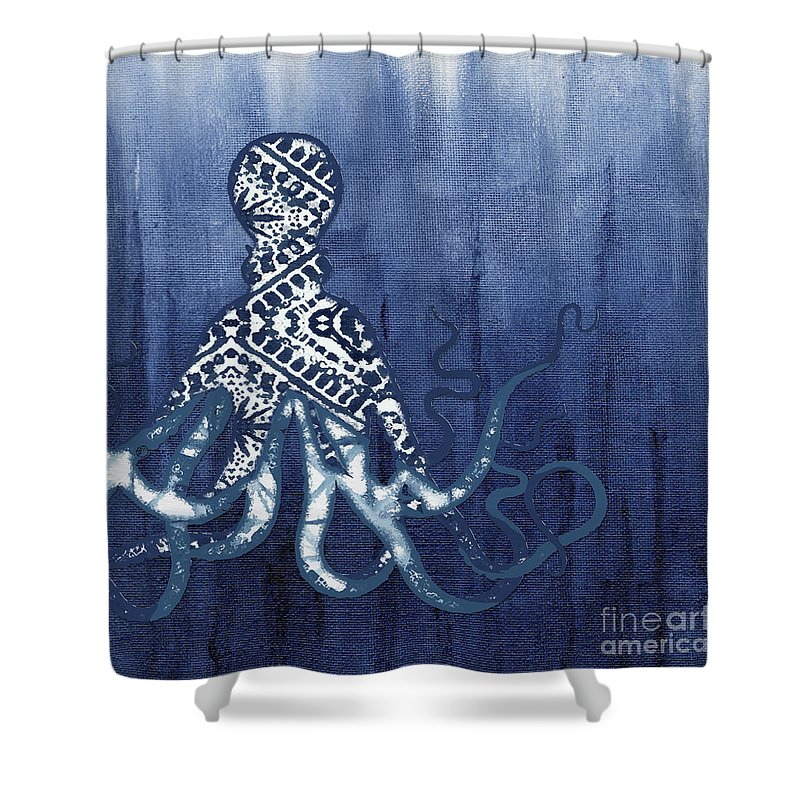 f70f27d8dad Octopus Shower Curtain featuring the painting Shibori Blue 2 - Patterned  Octopus Over Indigo Ombre Wash
