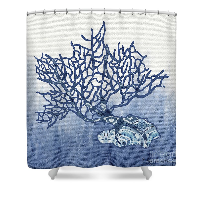 Blue Coral Shower Curtain Featuring The Painting Shibori 5